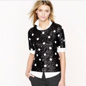 J. Crew Black White Polka Dot Sequin Blouse XXS
